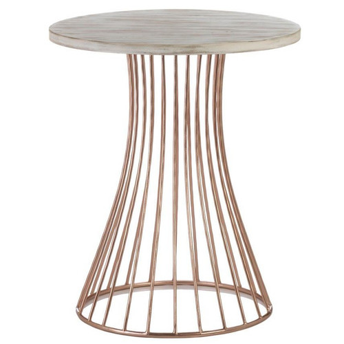 Rose Gold Accent Table with Whitewash Top