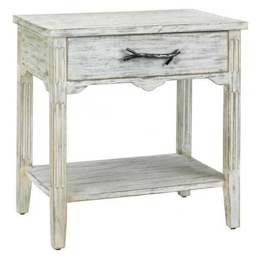 Distressed Wood End Table with Metal Twig Handle