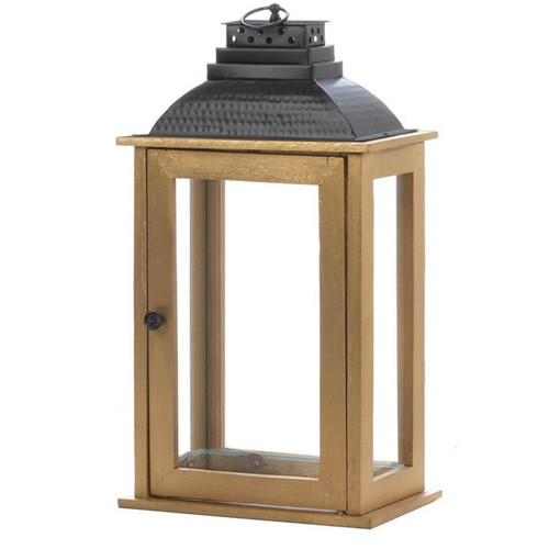 Rectangular Wood Candle Lantern with Black Metal Top - 19 inches