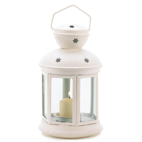 Star Cutout Candle Lantern - White