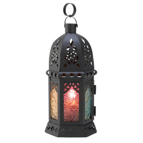 Moroccan Candle Lantern with Multi-Color Glass Panels - 10.5 inches