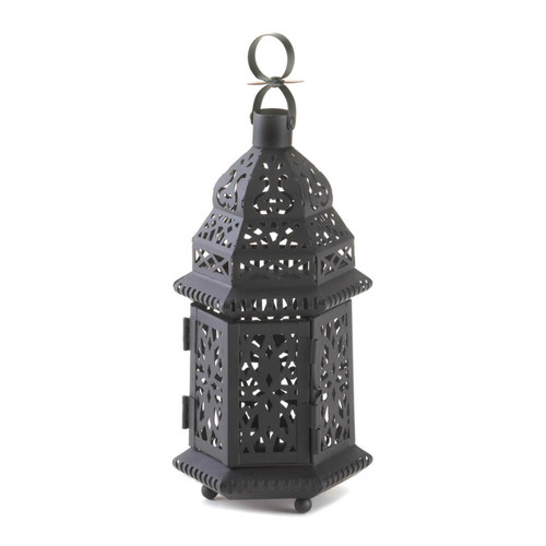 Black Iron Moroccan Candle Lantern - 10.5 inches