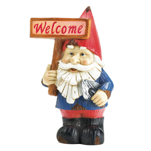 Solar Light-Up Garden Gnome with Welcome Sign