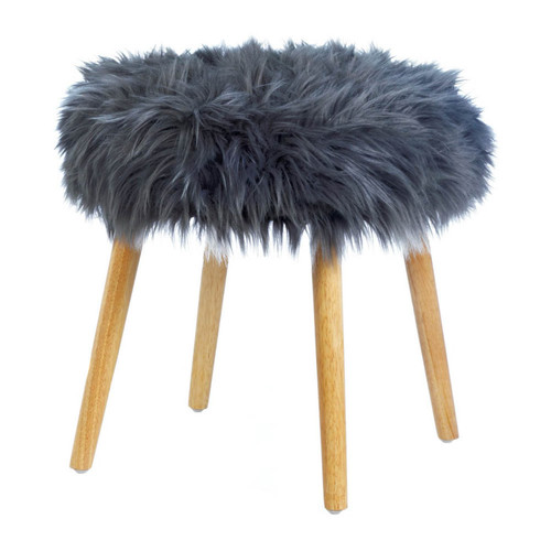 Faux Fur Stool with Wood Legs - Gray