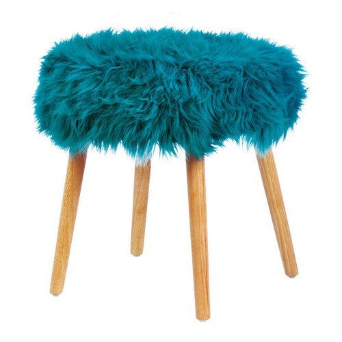 Faux Fur Stool with Wood Legs - Turquoise