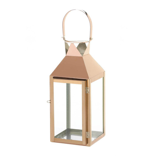 Rose Gold Stainless Steel Candle Lantern - 15.25 inches