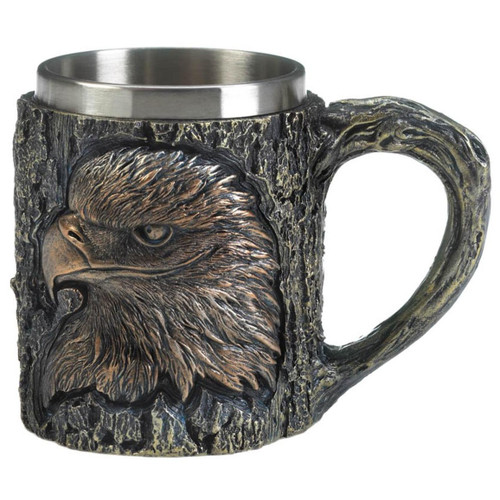 Rustic Carved-Look Eagle Mug with Stainless Steel Insert