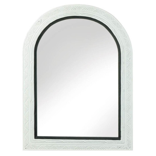 White Arched Wall Mirror with Black Trim