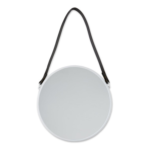 Round Hanging Wall Mirror with Faux Leather Strap - White