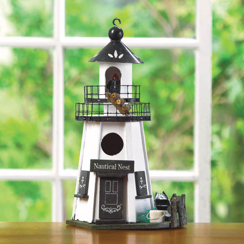 Nautical Nest Wood Lighthouse Bird House