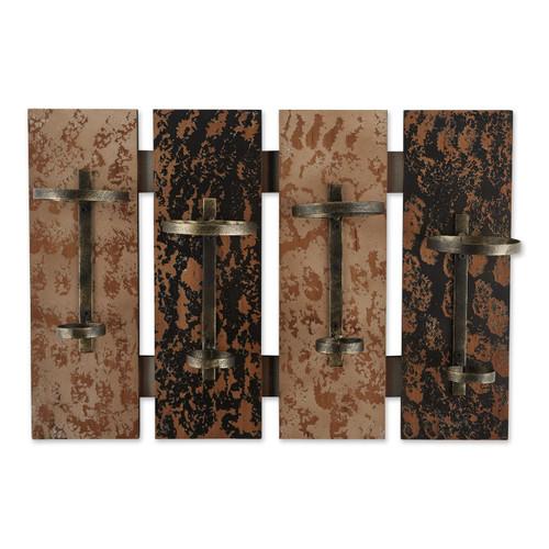 Four-Bottle Rustic Wood Wall-Mounted Wine Rack