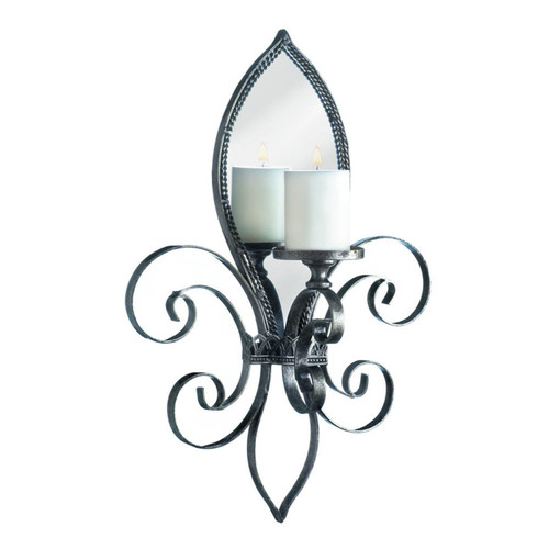 Fleur de Lis Metal Candle Sconce with Mirror