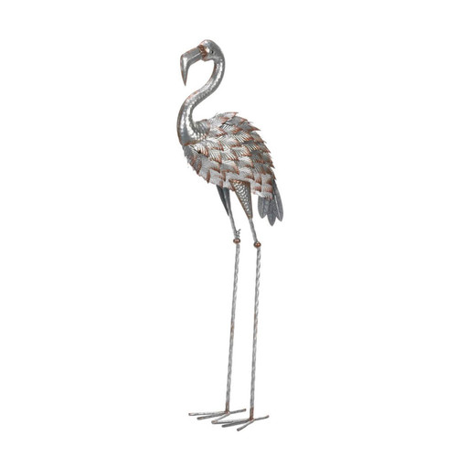 Galvanized Metal Flamingo Statue - 35.5 inches