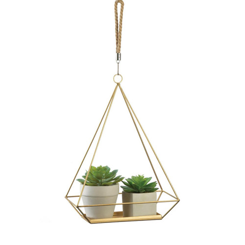 Golden Metal Rectangular Hanging Plant Holder