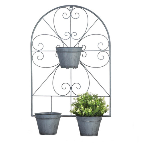 Rustic Iron Trellis with Three Pots