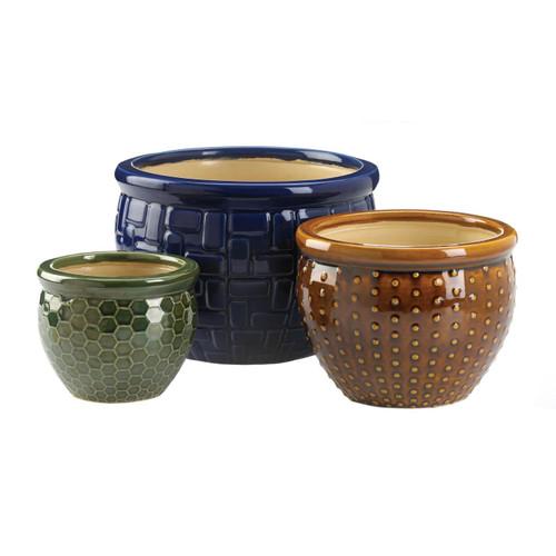 Embossed Multi-Color Ceramic Planter Set