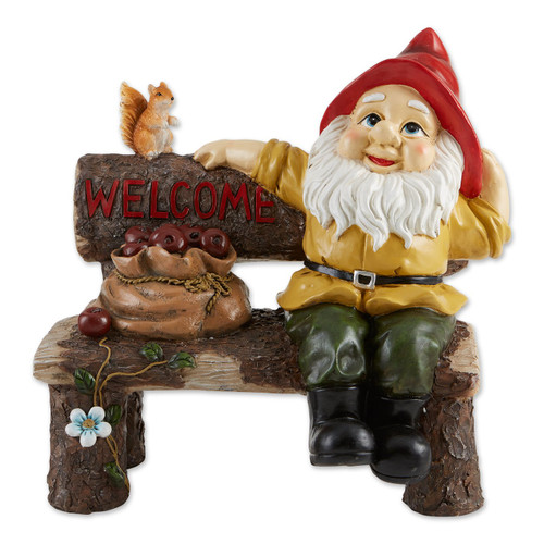 Garden Gnome and Squirrel on Welcome Bench