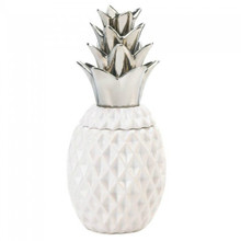Porcelain Pineapple Jar with Silver Leaves - AEWholesale