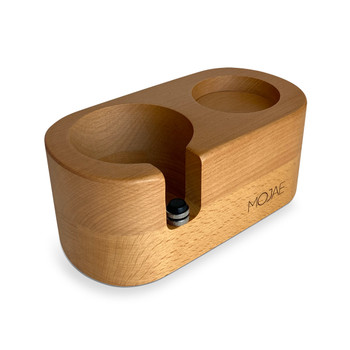 Java Gear Wood Base Tamper Stand - 58mm - Perspective View