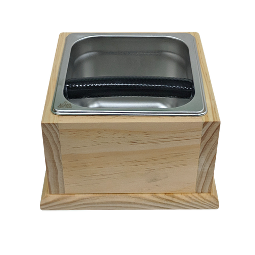 Java Gear Stainless Steel Knock Box with Wooden Base
