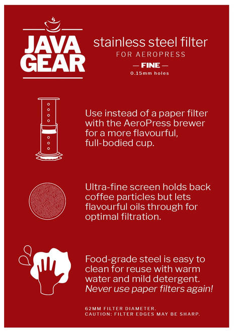 Java Gear Aeropress Reusable Fine Metal Filter