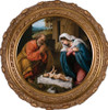 Nativity with Reaching Jesus - Round Framed Canvas