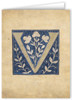 Letter V Illuminated Manuscript Note Card