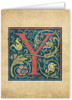 Letter Y Illuminated Manuscript Note Card