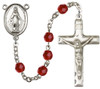 Simple Silver-Plated Glass Bead Rosary with Miraculous Medal