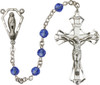 Hand made Sterling Silver Rosary with 6mm Swarovaki Beads featuring Miraculous Center