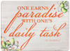 """One Earns Paradise"" Rectangular Glass Cutting Board"