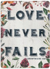 """Love Never Fails"" Rectangular Glass Cutting Board"