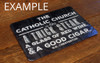 Wherever the Catholic Sun Doth Shine Rectangular Glass Cutting Board