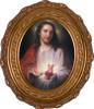 Austrian Sacred Heart Framed Oval Canvas