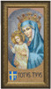 LIMITED EDITION 8x16 Mater Ecclesiae - Mosaic with Totus Tuus - Standard Gold Framed Art