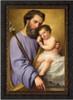 St. Joseph and the Infant Jesus by Ricardo Balaca - Ornate Dark Framed Canvas