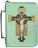 Personalized Bible Cover with Benedictine Cross Graphic - Aqua