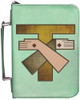 Personalized Bible Cover with Franciscan Crest Graphic - Aqua