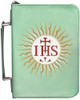 Personalized Bible Cover with Jesuit IHS Graphic - Aqua