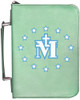 Personalized Bible Cover with Miraculous Medal Graphic - Aqua