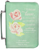 Personalized Bible Cover with St. Therese Rose Graphic - Aqua