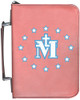Personalized Bible Cover with Miraculous Medal Graphic - Rose