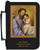 Personalized Bible Cover with St. Joseph - Black