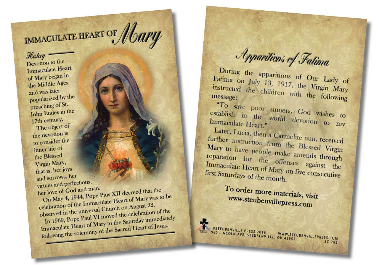Immaculate Heart Of Mary Devotion Faith Explained Card Catholic To The Max Online Catholic Store