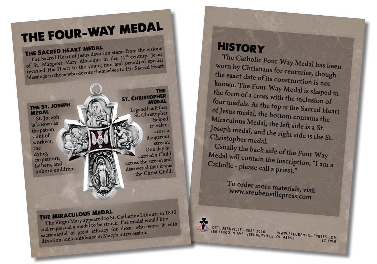 The Four Way Medal Faith Explained Card Catholic To The Max Online Catholic Store