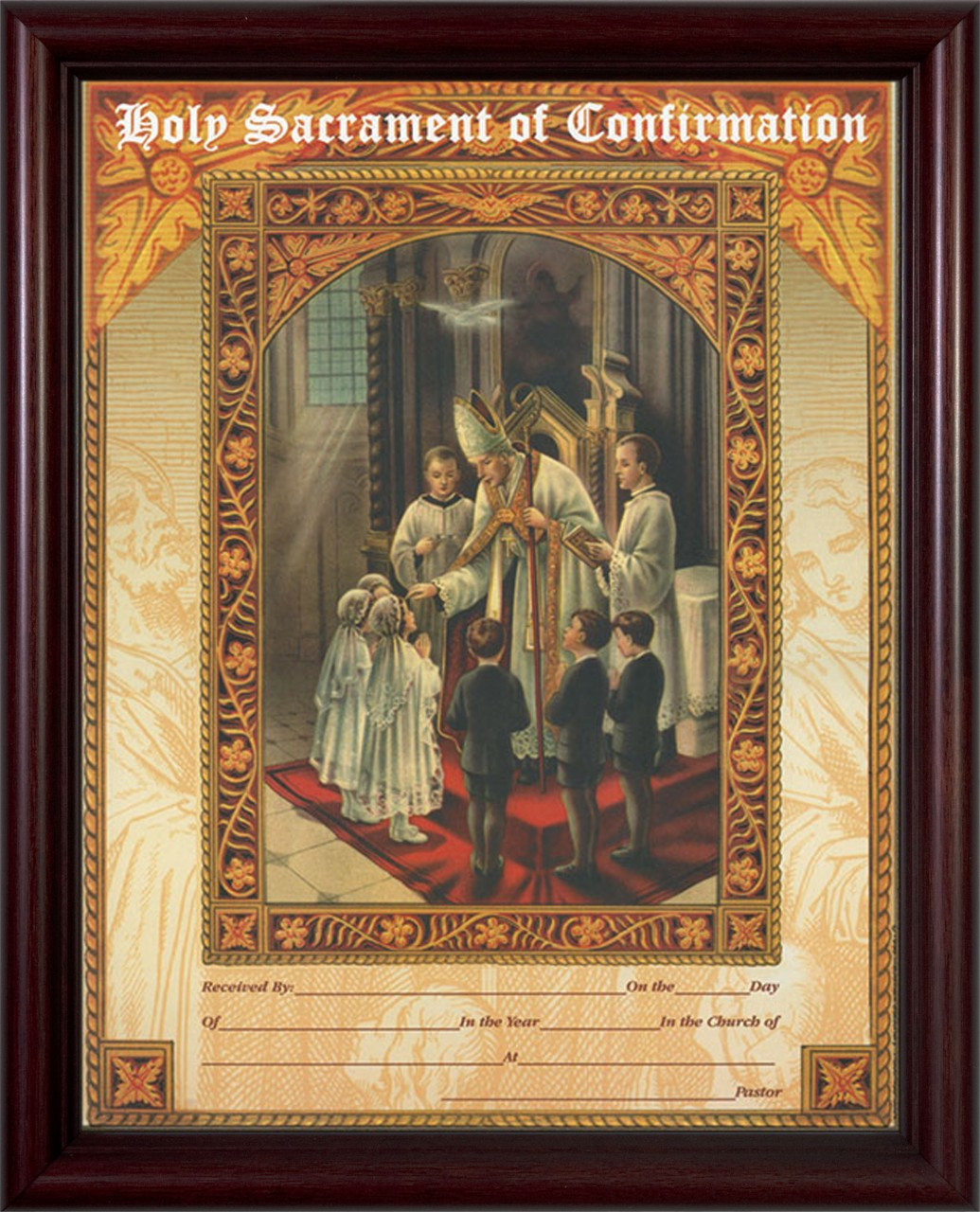 Holy Sacrament Of Confirmation Certificate Cherry Framed Catholic