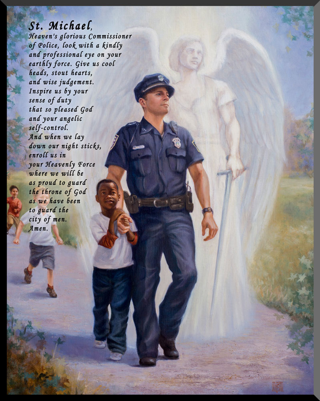 The Protector: Police Guardian Angel Wall Plaque with St  Michael Prayer