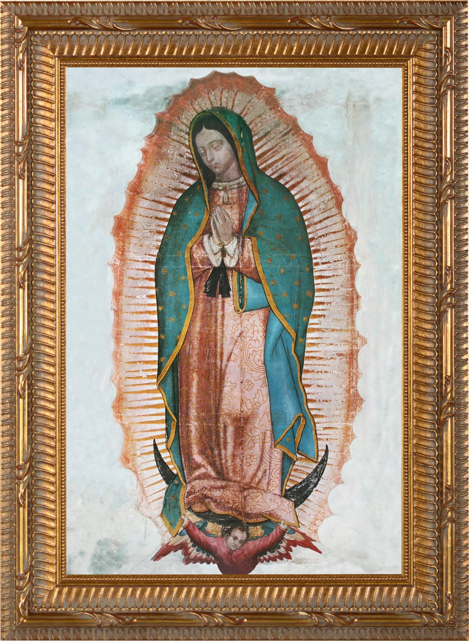 Our Lady Of Guadalupe Canvas Ornate Gold Framed Art Catholic To