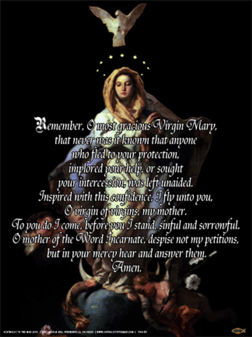 Memorare Poster Catholic To The Max Online Catholic Store