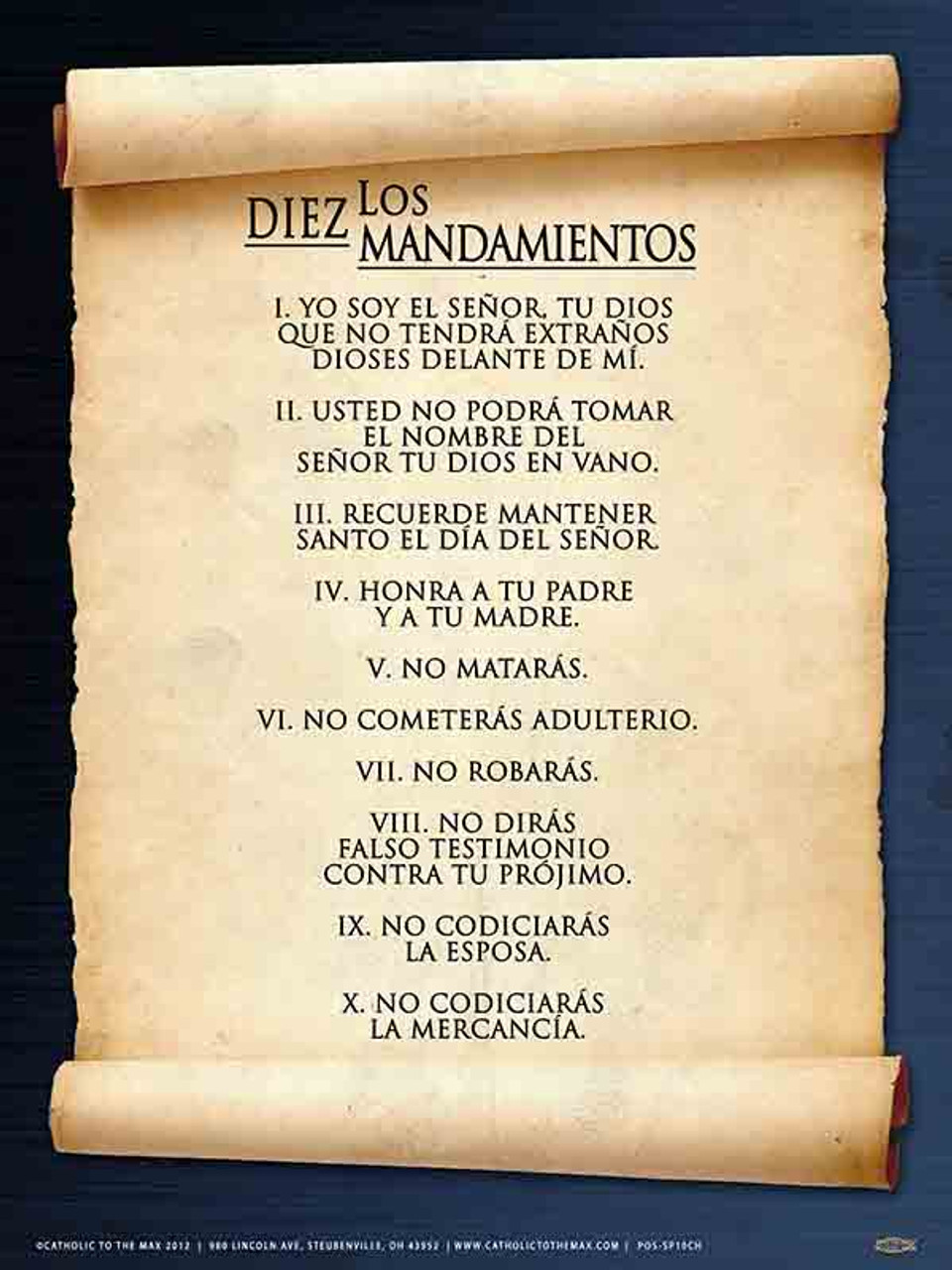 graphic about Catholic Ten Commandments Printable known as Spanish 10 Commandments Poster